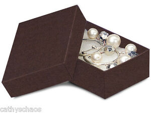 100 Small Chocolate Brown Kraft Recycled Jewelry Earrings Gift Boxes Holiday
