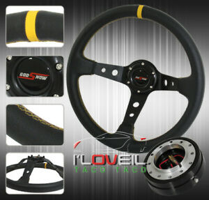 350mm Black Deep Dish Steering Wheel Yellow Stitching 1 5 Slim Quick Release