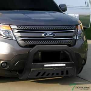Topline For 2011 2018 Ford Explorer Avt Aluminum Led Bull Bar Guard Matte Black