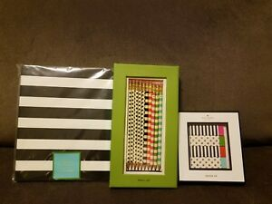 Kate Spade Pencil Set Black Stripe Spiral Notebook Eraser Set Gift Set New