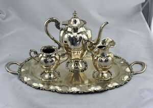 Vintage Eddie S Sterling Silver Mexico Tea And Coffee Service Set 95 Oz W Tray