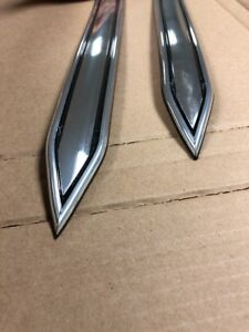 Vintage Type 1 1 4 1 25 Chrome W Black Body Side Molding Trim Pointed Ends
