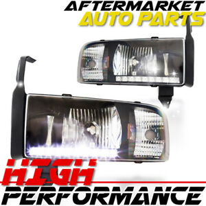 For 2000 Dodge Ram 1500 Led Drl Headlight Black Clear