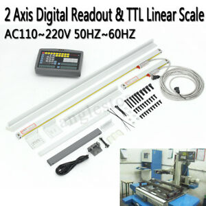 Us 2 Axis Digital Readout Ttl Linear Scale For Mill Lathe Scale Dro 1000mm 250mm