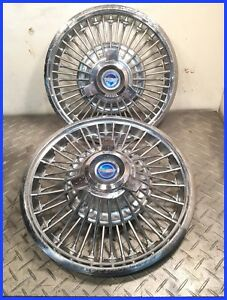 1965 66 Mustang Used Oem 48 Spoke 14 Blue Spinner Center Wire Hubcaps Two