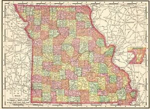1900 Antique Missouri State Map Vintage Map Of Missouri Gallery Wall Art 6123