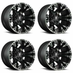 Set 4 18 Fuel Vapor D569 Black Machined Wheels 18x9 8 Lug 8x6 5 Truck Rims 20mm
