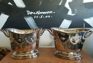 Vintage Pair Italian Messulam Sterling Silver Ice Buckets Or Wine Coolers