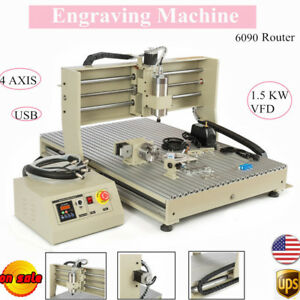 4axis 6090 Cnc Router Engraver Milling Cutting Drilling Machine Usb 1 5kw Vfd Us