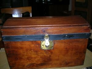Antique Dome Top Doll Trunk Salesman Sample Wood Chest Lined W Tray Vintage