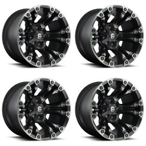 Set 4 22 Fuel Vapor D569 Black Machined Wheels 22x10 6 Lug 6x135 6x5 5 18mm