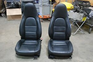 Porsche 996 911 986 Boxster Seats Pair L R Black Leather 2 Way