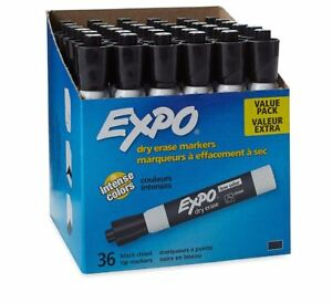 Best Expo Low Odor Chisel Tip Dry Erase Markers Black Set Of 36 Pack Expo Marker