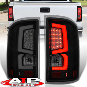 Black Smoke Led Bar Tube Tail Lights Brake Lamps Pair For 2014 2018 Gmc Sierra