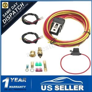165 To 185 Dual Electric Fan Relay Wiring Harness Thermostat Sensor 40 Amp Kit