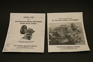 Van Norman 204 204h Drum Brake Lathe And Disc Attachment Parts List