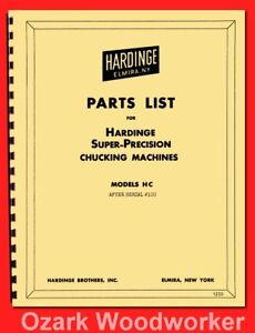 Hardinge Hc Hct Chucker Lathe Parts Manual Serial After 100 1233