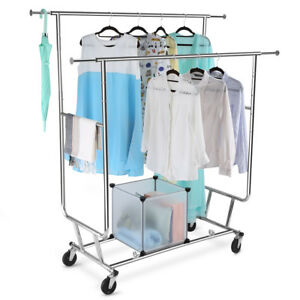 Collapsible Adjustable Double Rail Rolling Garment Rack Drying Hanging Rack