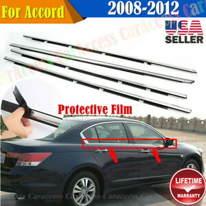 For Accord 2008 2012 4pcs Chrome Weatherstrip Window Moulding Trim Seal Belt