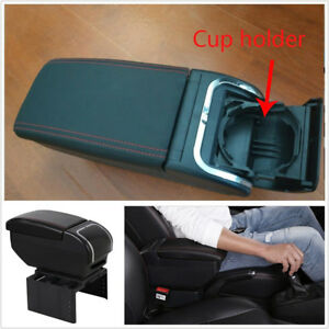 1 Pcs Pu Leather Universal Car Interior Central Container Armrest Box Cup Holder