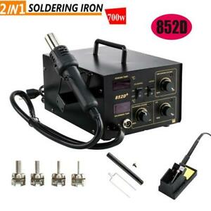 2in1 852d Soldering Rework Stations Smd Hot Air Iron Gun Desoldering Welder