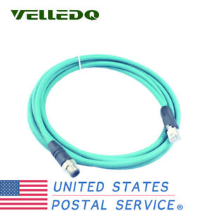 M12 Male To Rj45 Ethernet Plug Cable Assembly 4 pin 15ft Shielded Patch Cord
