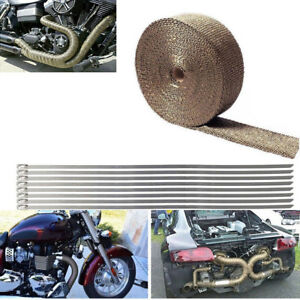 50ft Motorcycle Titanium Exhaust Heater Wrap Manifold Heat Shield Tape 10 Ties