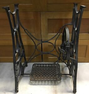 Vintage Sewing Machine Cast Iron Base Table Legs Industrial Age Repurpose