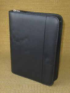 Classic 1 5 Rings Black Sim Leather Franklin Covey quest Zip Planner binder