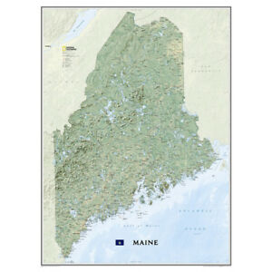 National Geographic Nat Geo Paper Wall Map Maine