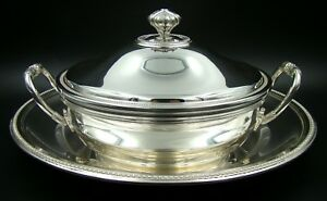 Pristine French Christofle Silver Plate Perles Tureen And Cover With Presentoire