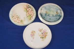 3 Victorian Porcelain Trivets Antique Hot Plate Holder Rests Hand Painted Swans
