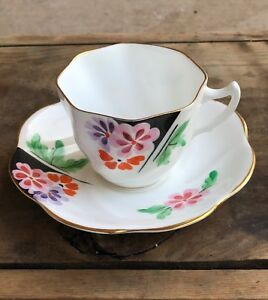 Gorgeous Vintage Rosina Tea Cup And Saucer With Flowers And Gold Trim