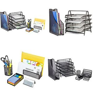 Office Desk Accessories Mesh 4 Tier File Tray 3 Upright Sections For Organizer