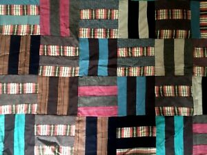 Antique 1920 S Log Cabin Patch Work Quilt Top Wool Cotton Flannel 80 X 72