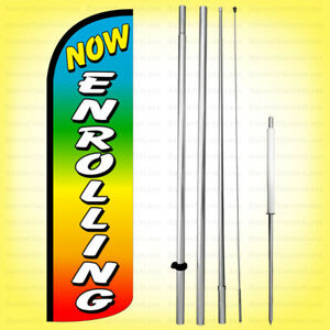 Now Enrolling Windless Swooper Flag Kit 15 Feather Banner Sign Rainbow Q h