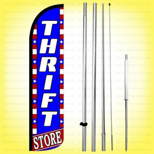 Thrift Store Windless Swooper Flag Kit 15 Feather Banner Sign Bz h