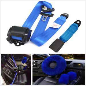 Blue 3 point Retractable Seat Belt long Plush Fur Wool Car Steering Wheel Cover