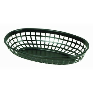 72 Pc Plastic Fast Food Basket Baskets Tray 9 3 8 x 5 3 4 Oval Black Plbk938k