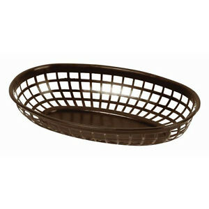 72 Pc Plastic Fast Food Basket Baskets Tray 9 3 8 Oval Dark Brown Plbk938b