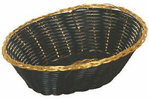 12 Pieces Fast Food Baskets Basket Tray Gold black 9 1 4 Oval New Free Shipping