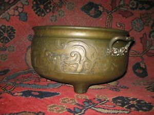 Huge Antique Chinese Bronze Censer With Dragon Motif