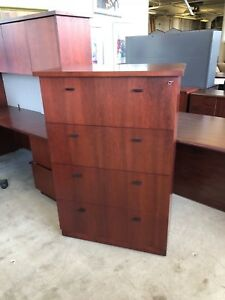 4dr 36 Lateral File Cabinet By Steelcase Office Furniture Mahogany Wood veneer