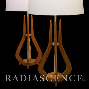 Pr Lg Danish Modern Pearsall Kagan Jet Age Atomic Walnut Trident Table Lamp 50s
