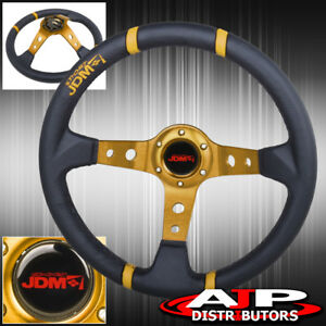 Jdm 350mm 3 5 Drift Racing Leather Steering Wheel Black Yellow Stitching Vw