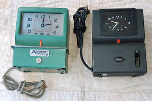 2 Lot Time Clocks Lathem Heavy duty 2121 Acroprint 125nr4 Parts Or Repair No Key
