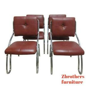 4 Mid Century Chrome Floating Cantilever Dining Room Side Chairs Set