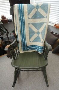 Antique Lancaster Pa Hand Stitched Quilt Amish Blue White Square Cuts Dbl Fabric
