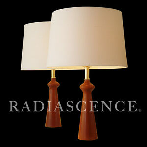 Danish Modern Pearsall Kagan Jet Age Atomic Teak Table Lamps 50s Dansk Modeline