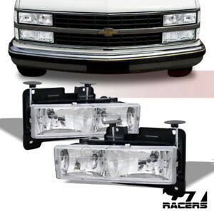 For 1988 1993 Chevy Gmc C10 C K Pickup Truck Chrome Crystal Headlights Lamps Dy